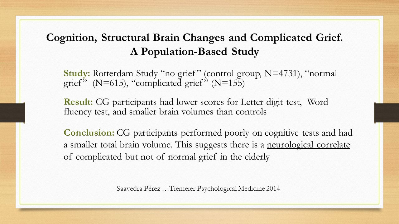 Cognition, Structural Brain Changes and Complicated Grief.