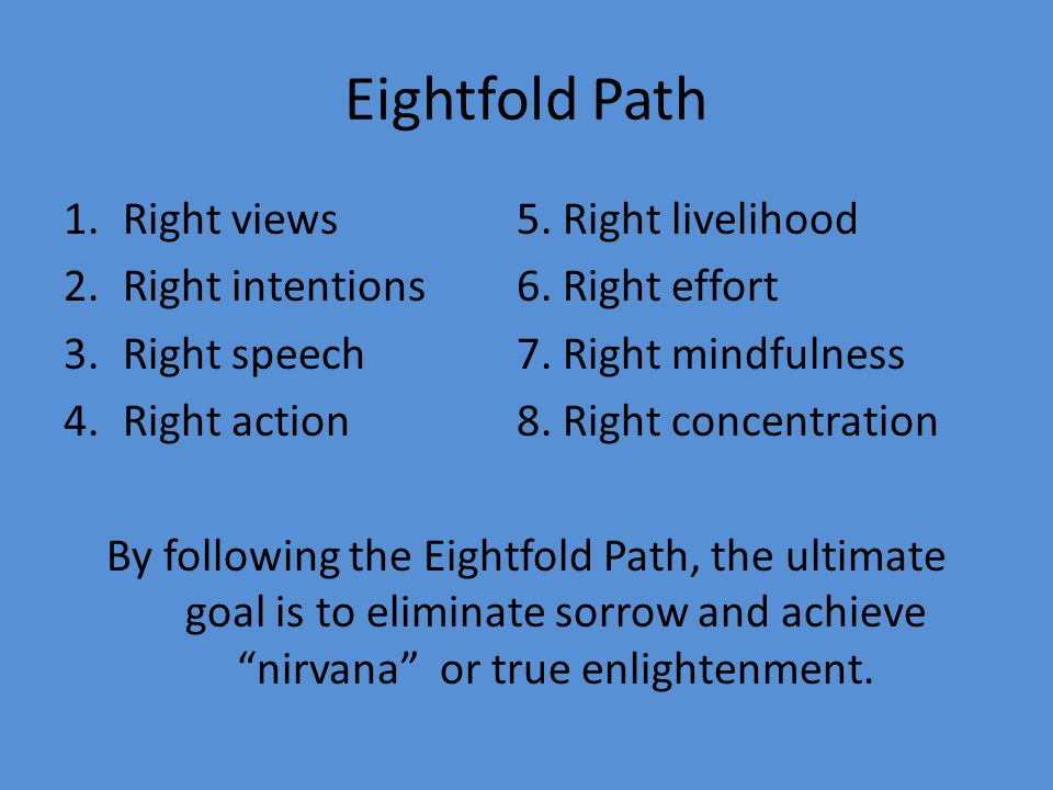 Eightfold Path 1.Right views 5. Right livelihood 2.Right intentions 6.