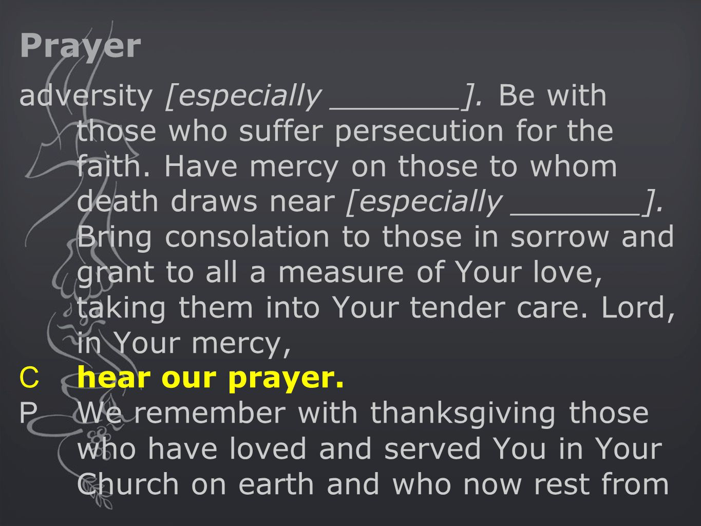 Prayer adversity [especially _______]. Be with those who suffer persecution for the faith.