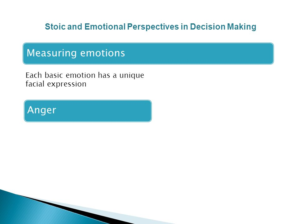 Each basic emotion has a unique facial expression Measuring emotions Anger Stoic and Emotional Perspectives in Decision Making