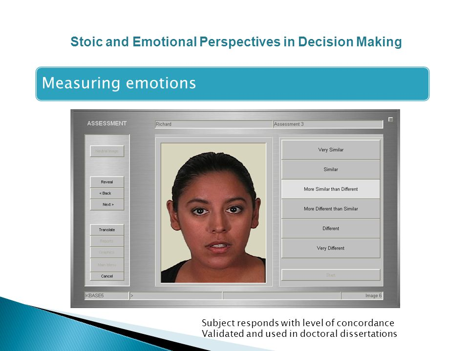 Measuring emotions Subject responds with level of concordance Validated and used in doctoral dissertations Stoic and Emotional Perspectives in Decision Making