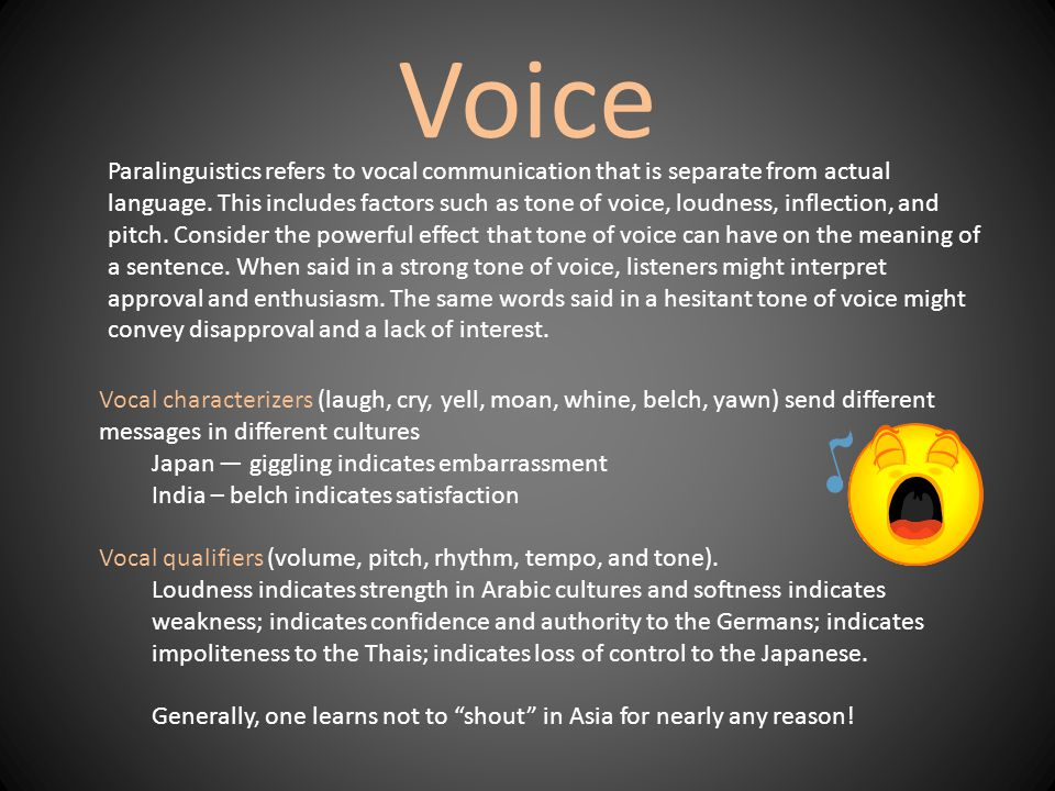Voice Vocal characterizers (laugh, cry, yell, moan, whine, belch, yawn) send different messages in different cultures Japan — giggling indicates embarrassment India – belch indicates satisfaction Vocal qualifiers (volume, pitch, rhythm, tempo, and tone).