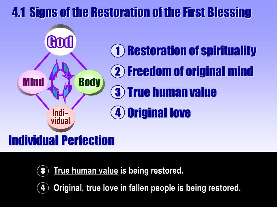1 Restoration of spirituality 2 Freedom of original mind 4 Original love 4 Original, true love in fallen people is being restored.