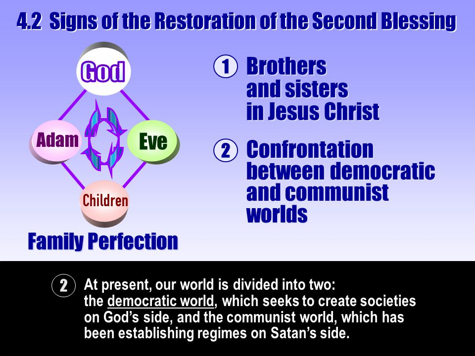 2 At present, our world is divided into two: the democratic world, which seeks to create societies on God's side, and the communist world, which has b