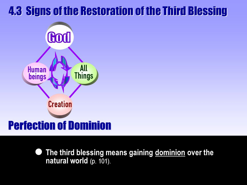 Perfection of Dominion The third blessing means gaining dominion over the natural world (p. 101).  4.3 Signs of the Restoration of the Third Blessing