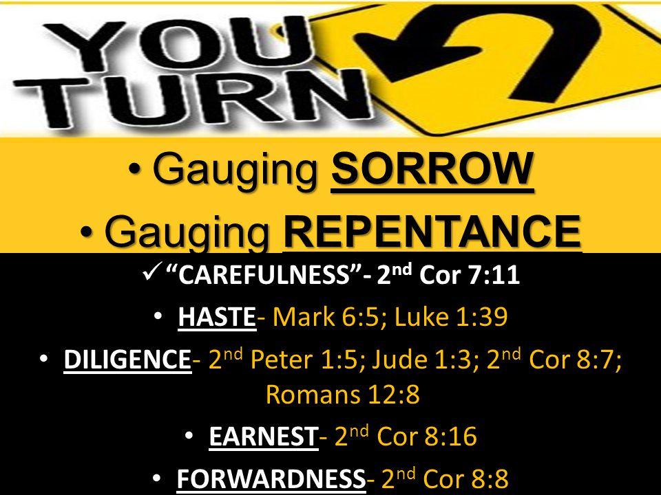 CAREFULNESS - 2 nd Cor 7:11 CAREFULNESS - 2 nd Cor 7:11 HASTE HASTE- Mark 6:5; Luke 1:39 DILIGENCE DILIGENCE- 2 nd Peter 1:5; Jude 1:3; 2 nd Cor 8:7; Romans 12:8 EARNEST EARNEST- 2 nd Cor 8:16 FORWARDNESS FORWARDNESS- 2 nd Cor 8:8 Gauging SORROWGauging SORROW Gauging REPENTANCEGauging REPENTANCE