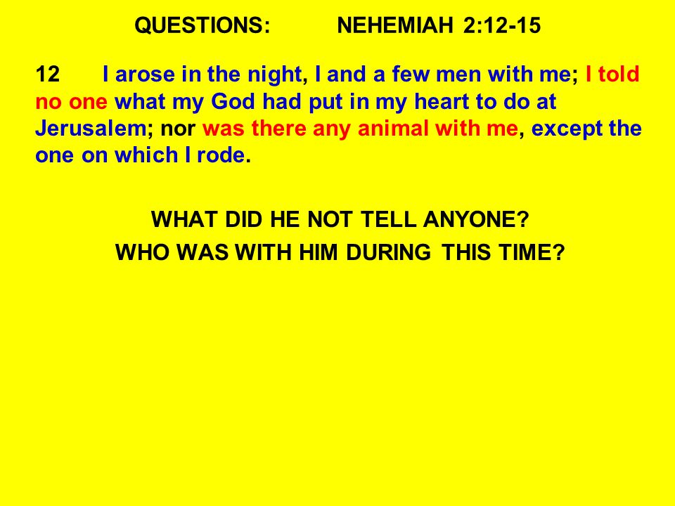 QUESTIONS:NEHEMIAH 2:12-15 12I arose in the night, I and a few men with me; I told no one what my God had put in my heart to do at Jerusalem; nor was there any animal with me, except the one on which I rode.