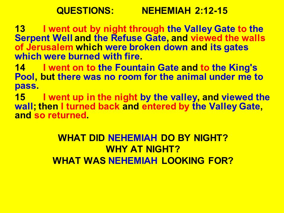 QUESTIONS:NEHEMIAH 2:12-15 13I went out by night through the Valley Gate to the Serpent Well and the Refuse Gate, and viewed the walls of Jerusalem wh