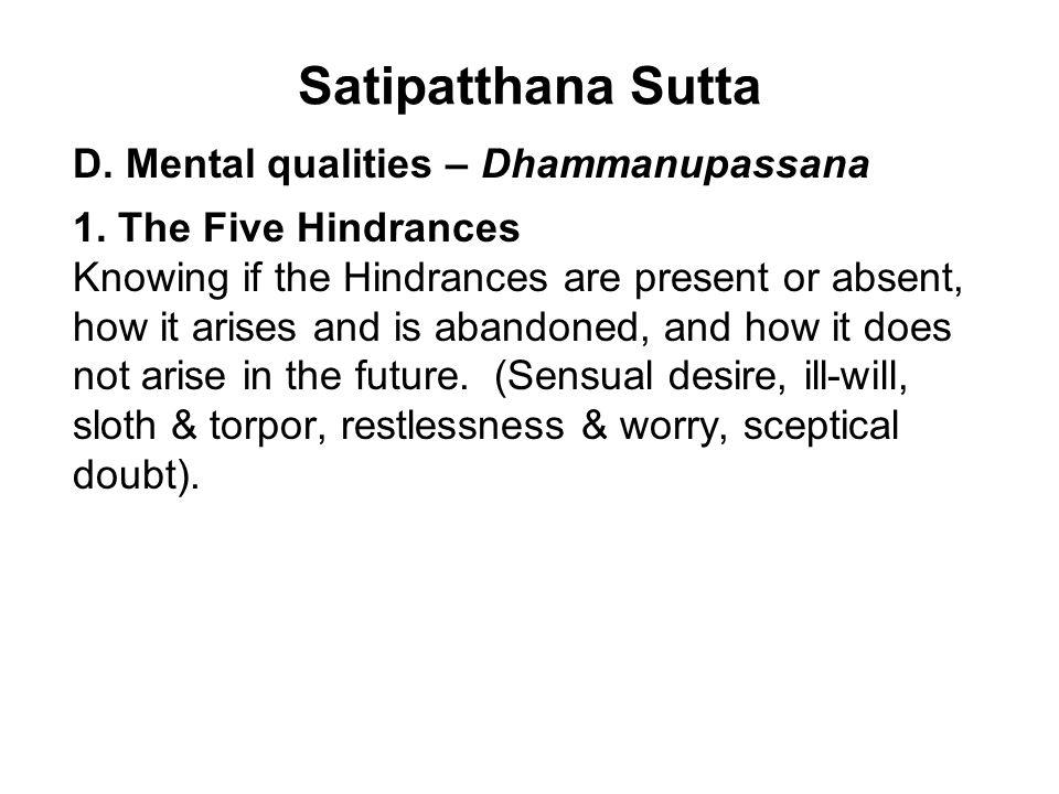 Satipatthana Sutta D. Mental qualities – Dhammanupassana 1.