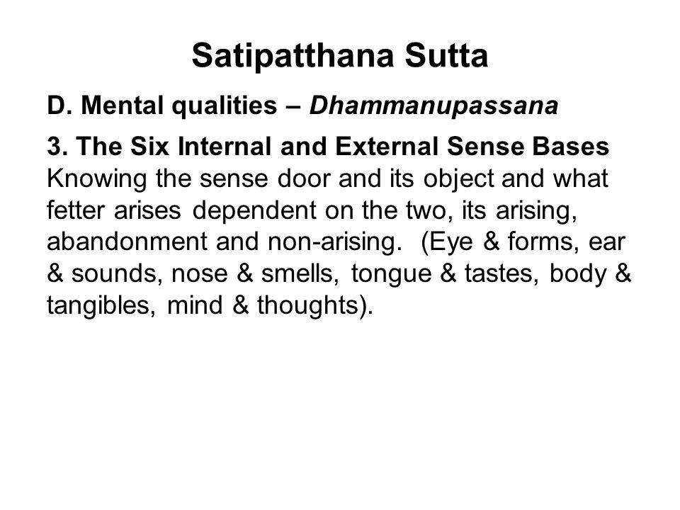Satipatthana Sutta D. Mental qualities – Dhammanupassana 3.