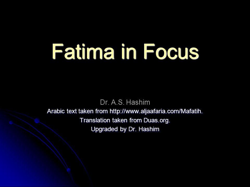 Fatima in Focus Fatima in Focus Dr. A.S.
