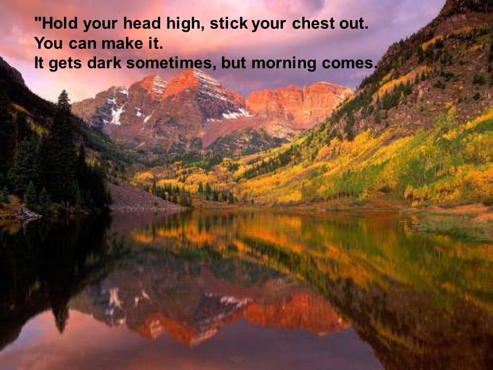 Hold your head high, stick your chest out. You can make it.