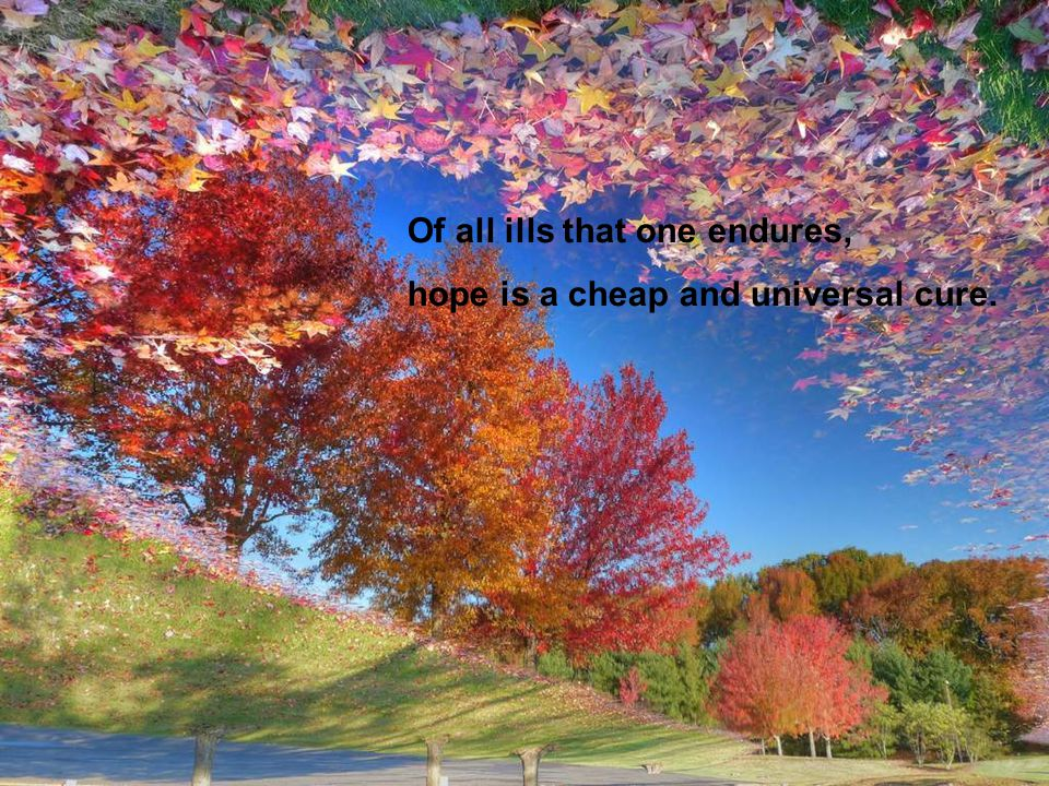 Of all ills that one endures, hope is a cheap and universal cure.