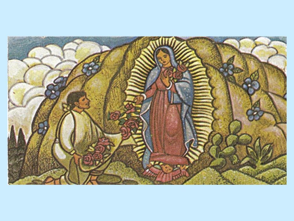 Juan Diego climbed the hill and found beautiful roses, even though it was not the season for them.