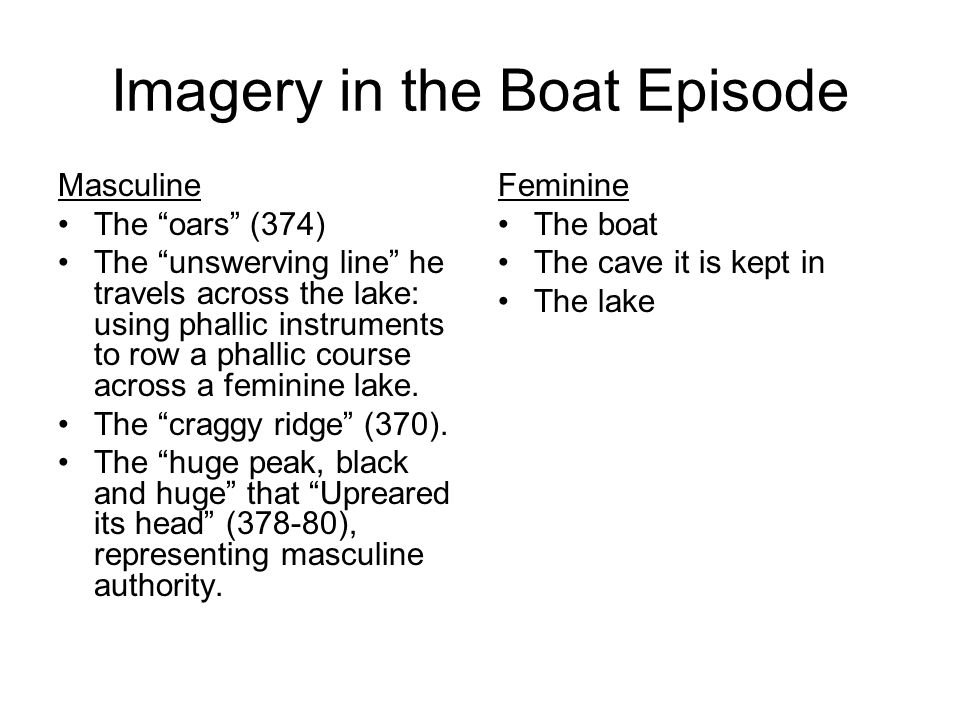 Imagery in the Boat Episode Masculine The oars (374) The unswerving line he travels across the lake: using phallic instruments to row a phallic course across a feminine lake.
