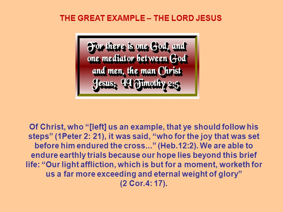 THE GREAT EXAMPLE – THE LORD JESUS Of Christ, who [left] us an example, that ye should follow his steps (1Peter 2: 21), it was said, who for the joy that was set before him endured the cross... (Heb.12:2).