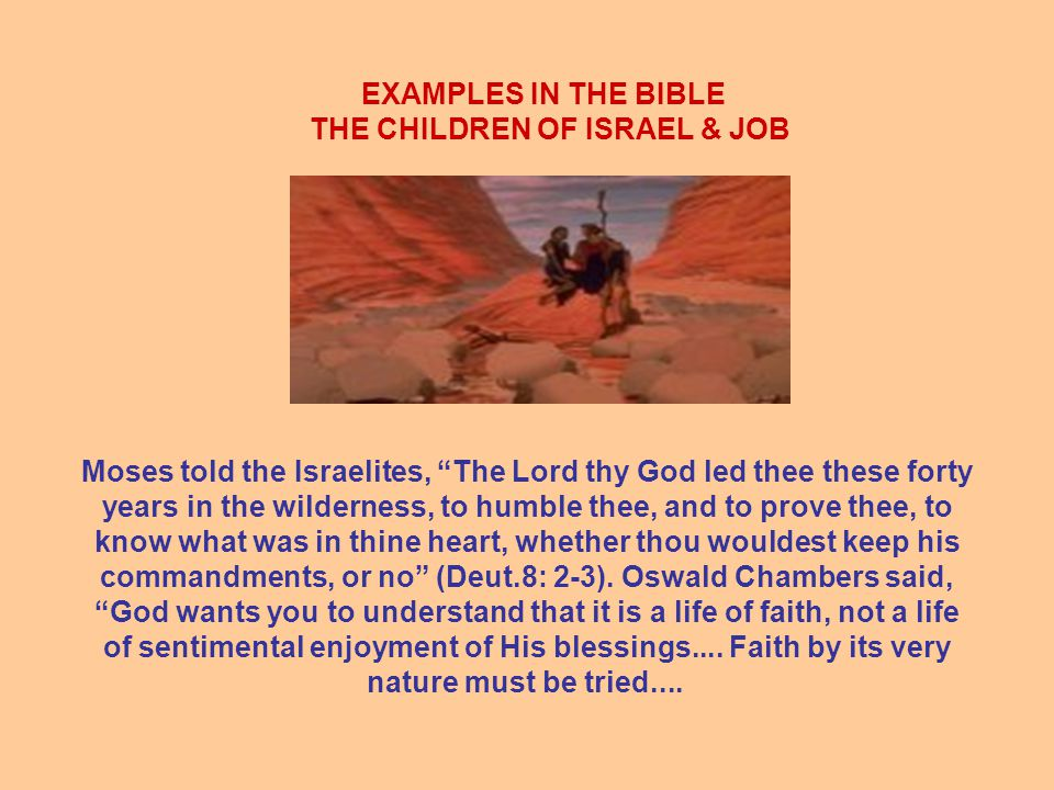 EXAMPLES IN THE BIBLE THE CHILDREN OF ISRAEL & JOB Moses told the Israelites, The Lord thy God led thee these forty years in the wilderness, to humble thee, and to prove thee, to know what was in thine heart, whether thou wouldest keep his commandments, or no (Deut.8: 2-3).