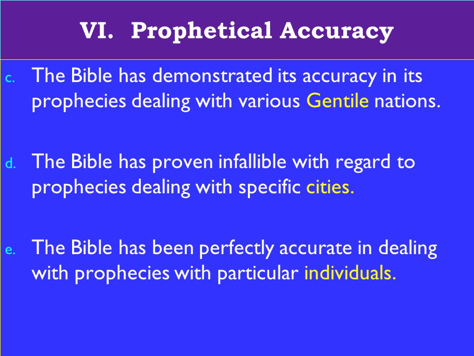 18 VI. Prophetical Accuracy c.