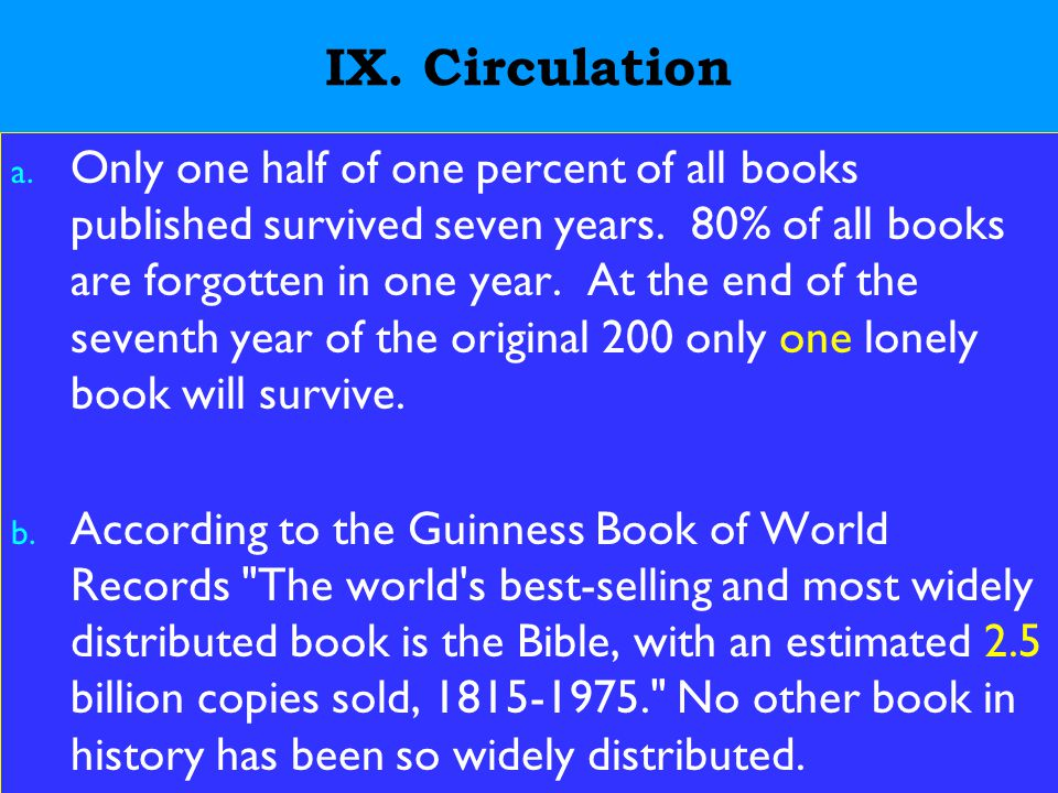 22 IX. Circulation a. Only one half of one percent of all books published survived seven years.