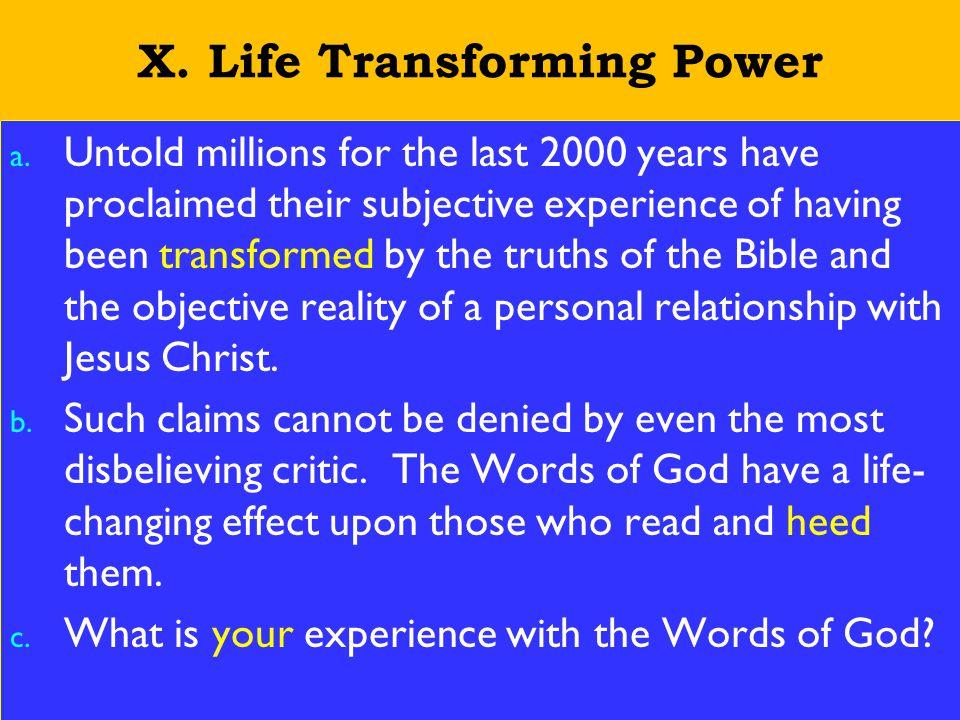 23 X. Life Transforming Power a.