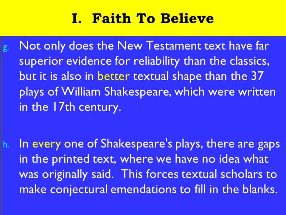 6 I. Faith To Believe g.