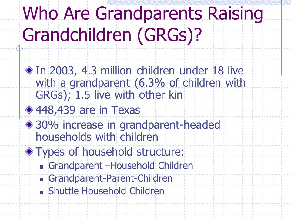 Who Are Grandparents Raising Grandchildren (GRGs).