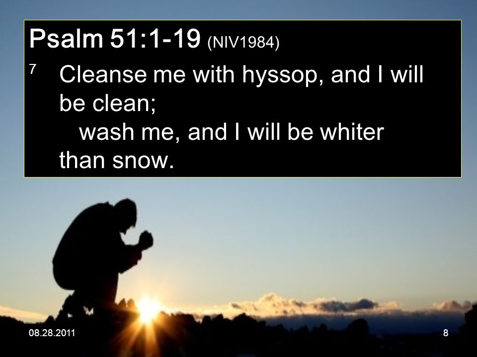08.28.20118 Psalm 51:1-19 (NIV1984) 7 Cleanse me with hyssop, and I will be clean; wash me, and I will be whiter than snow.