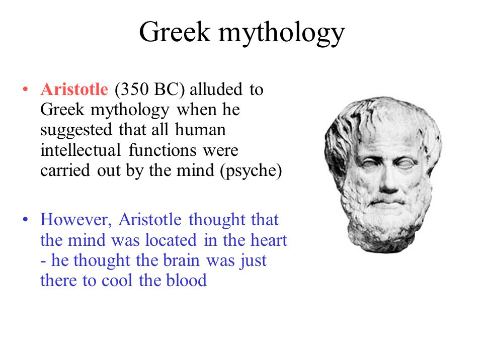 Greek mythology Aristotle (350 BC) alluded to Greek mythology when he suggested that all human intellectual functions were carried out by the mind (psyche) However, Aristotle thought that the mind was located in the heart - he thought the brain was just there to cool the blood