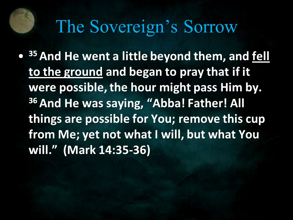 The Sovereign's Sorrow 35 And He went a little beyond them, and fell to the ground and began to pray that if it were possible, the hour might pass Him