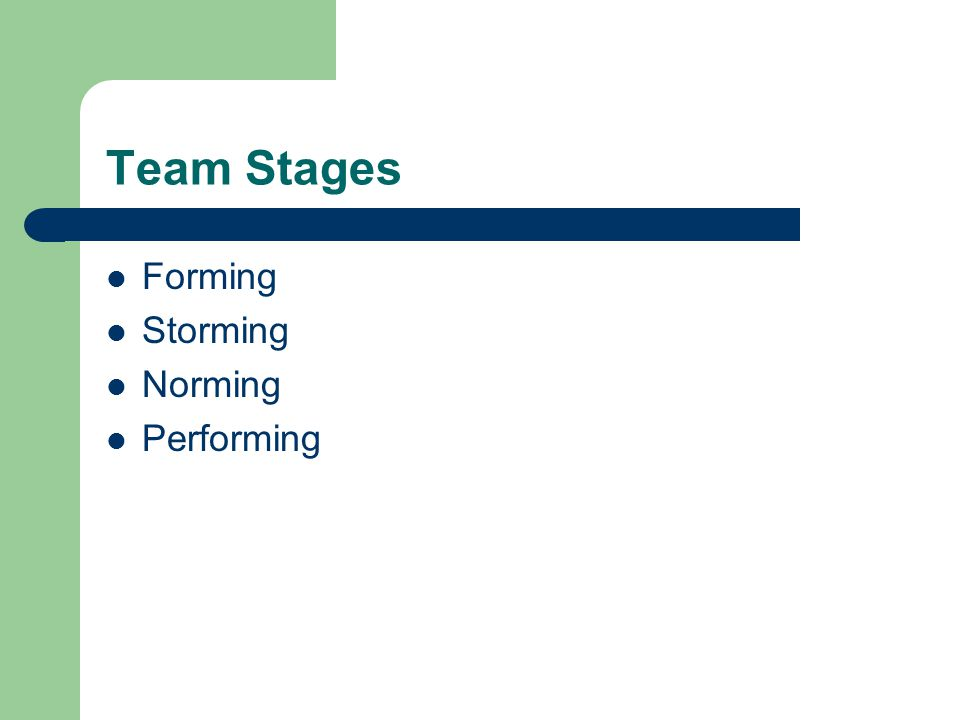 Team Stages Forming Storming Norming Performing