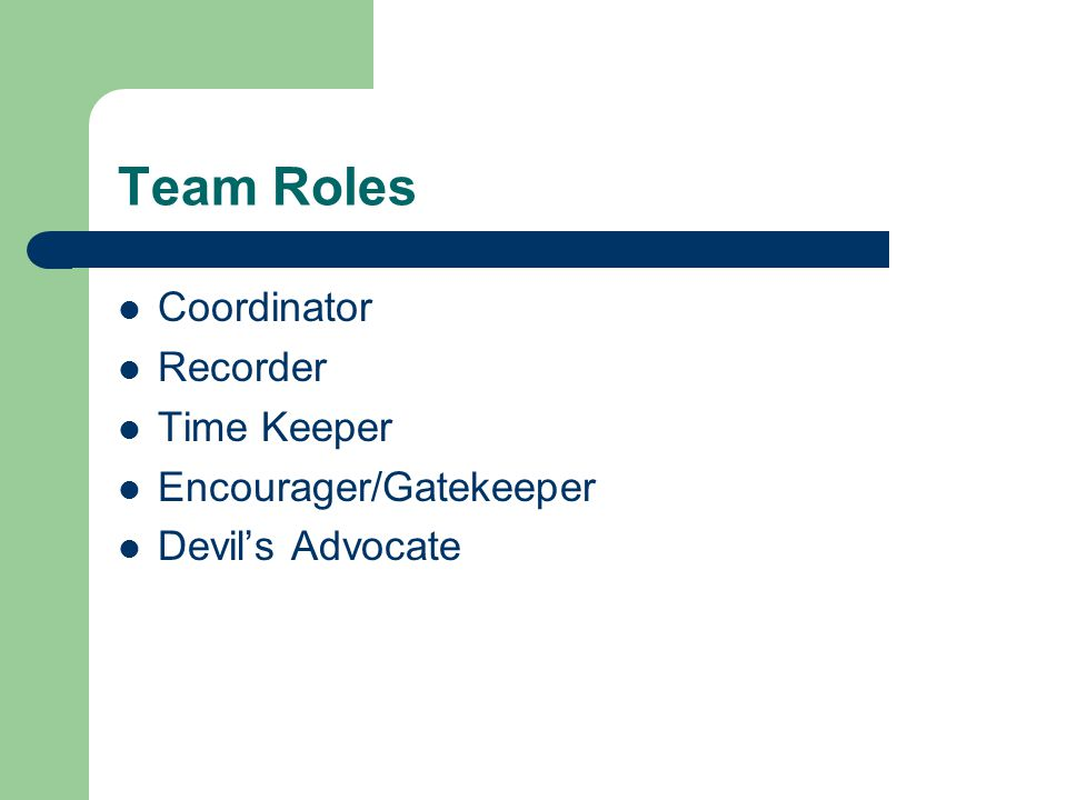 Team Roles Coordinator Recorder Time Keeper Encourager/Gatekeeper Devil's Advocate