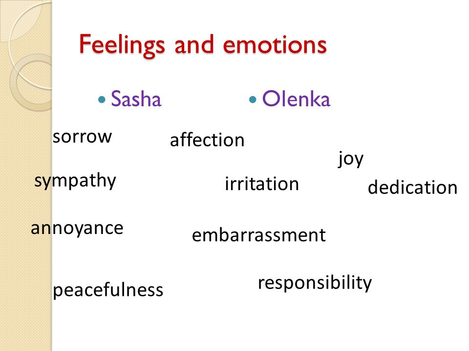 Feelings and emotions Sasha Olenka sympathy affection irritation annoyance embarrassment joy sorrow responsibility peacefulness dedication