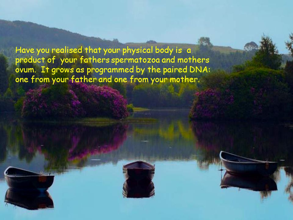 Have you realised that your physical body is a product of your fathers spermatozoa and mothers ovum.