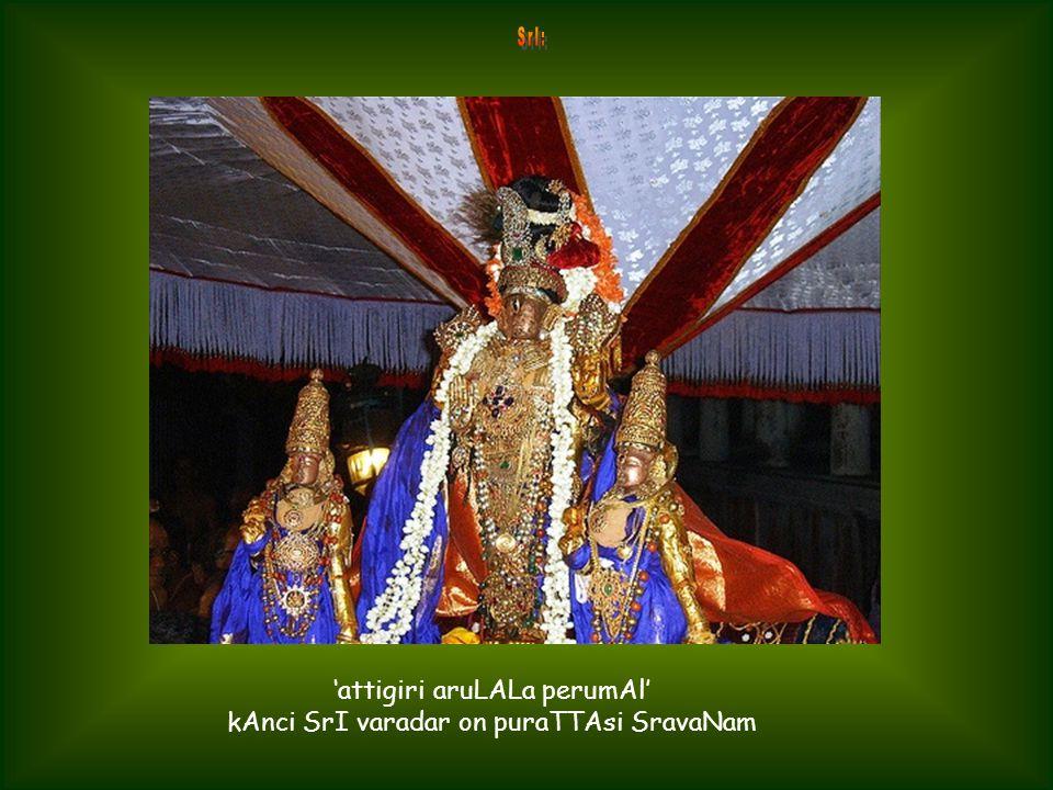 swAmi deSikan doing mangaLAsAsanam of SrI varadar at kAnci on puraTTAsi SravaNam