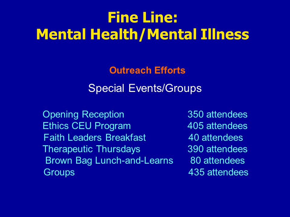 Outreach Efforts Fine Line: Mental Health/Mental Illness Special Events/Groups Opening Reception350 attendees Ethics CEU Program405 attendees Faith Leaders Breakfast40 attendees Therapeutic Thursdays390 attendees Brown Bag Lunch-and-Learns80 attendees Groups435 attendees