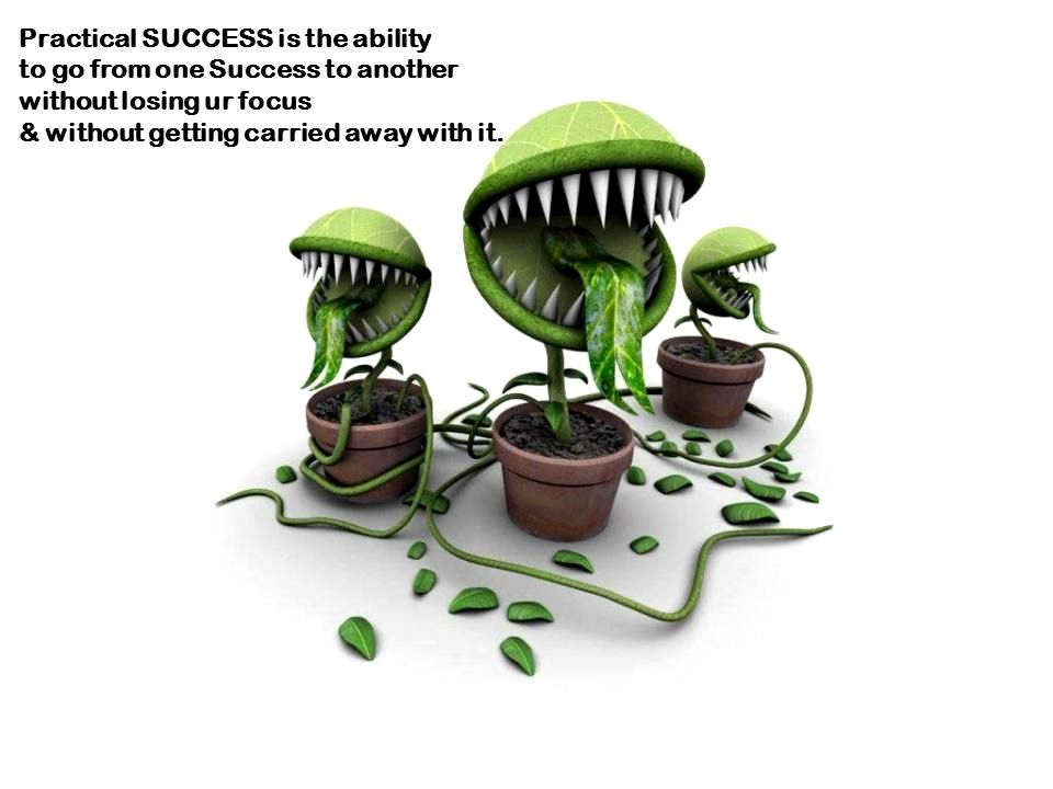 Practical SUCCESS is the ability to go from one Success to another without losing ur focus & without getting carried away with it.
