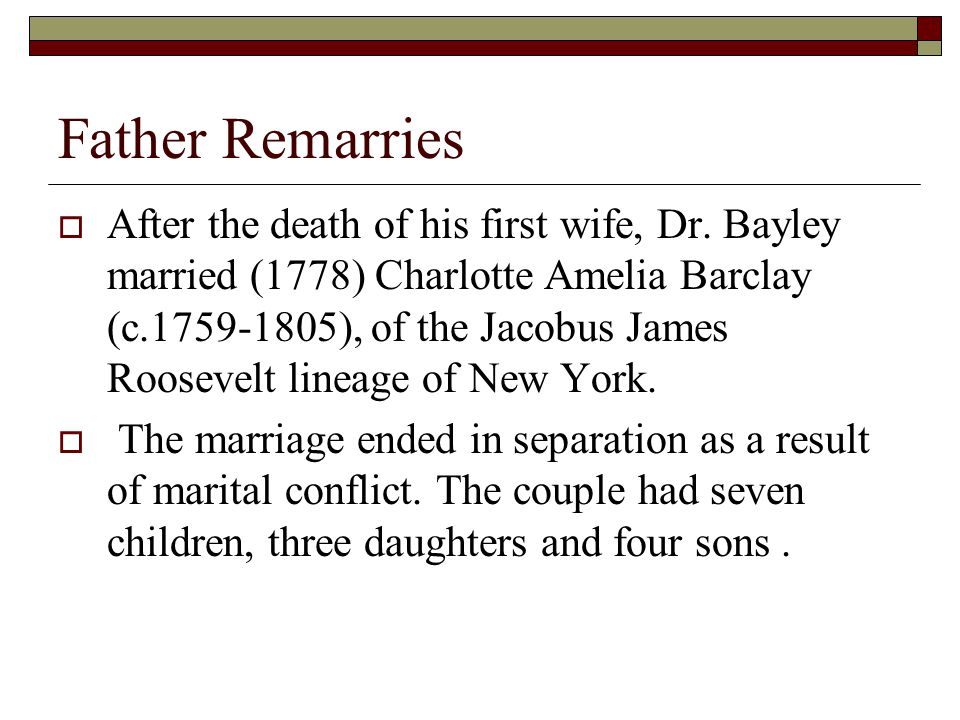 Father Remarries  After the death of his first wife, Dr.