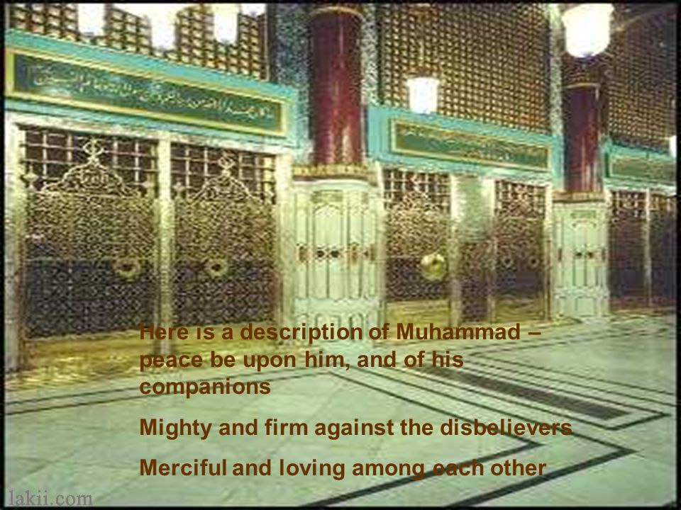 God Almighty says Muhammad is the Messenger of Allah, and those who are with him are severe against disbelievers, and merciful among themselves. You s