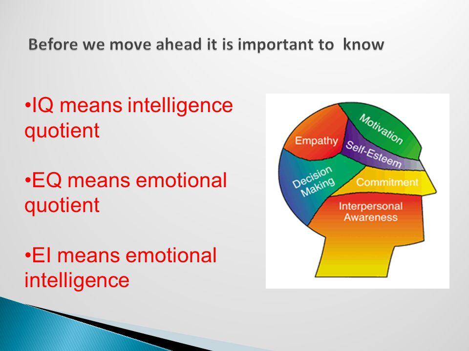 IQ means intelligence quotient EQ means emotional quotient EI means emotional intelligence