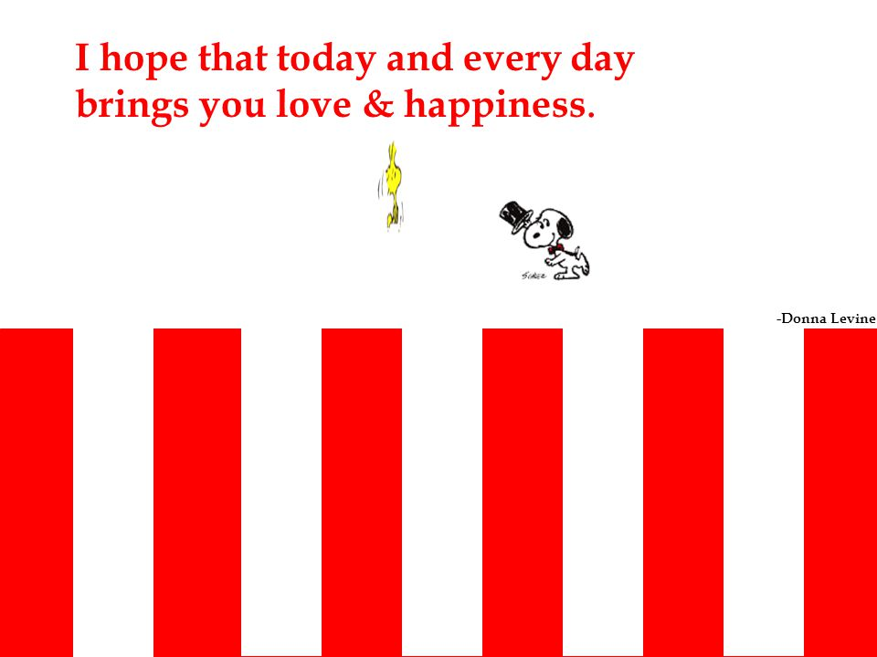 I hope that today and every day brings you love & happiness. -Donna Levine