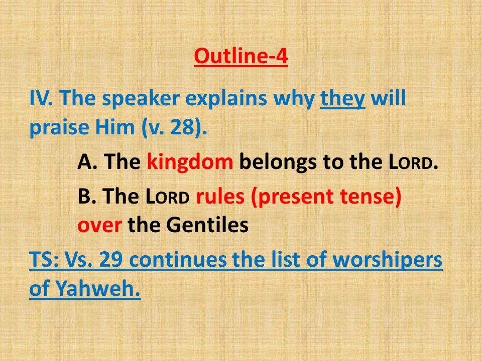 Outline-4 IV.The speaker explains why they will praise Him (v.