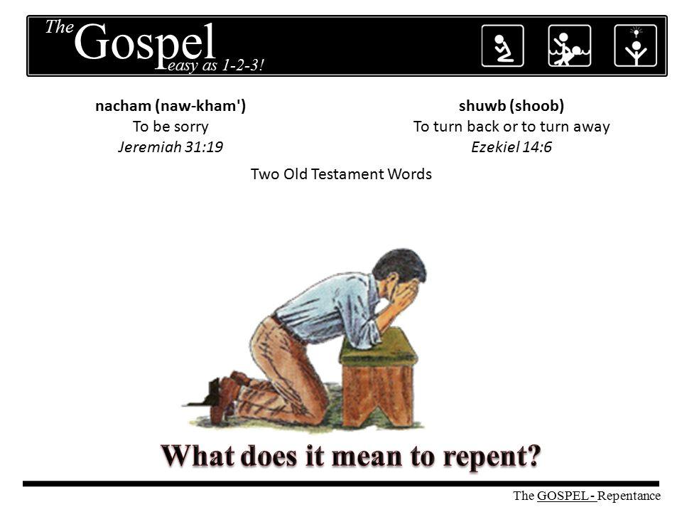 Two Old Testament Words nacham (naw-kham') To be sorry Jeremiah 31:19 shuwb (shoob) To turn back or to turn away Ezekiel 14:6 The GOSPEL - Repentance