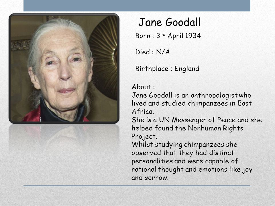 Jane Goodall Born : 3 rd April 1934 Died : N/A Birthplace : England About : Jane Goodall is an anthropologist who lived and studied chimpanzees in Eas