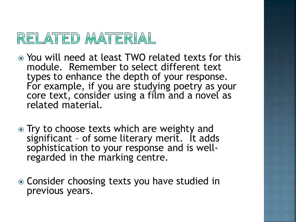  You will need at least TWO related texts for this module.
