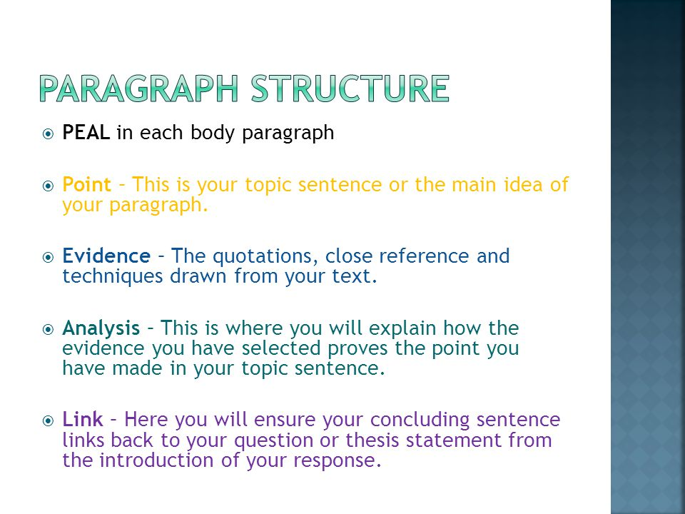  PEAL in each body paragraph  Point – This is your topic sentence or the main idea of your paragraph.