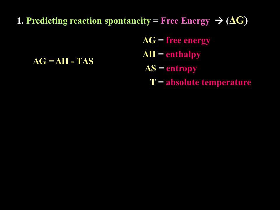 1. Predicting reaction spontaneity = Free Energy  (ΔG)(ΔG) ΔG = ΔH - TΔS ΔS = entropy ΔH = enthalpy ΔG = free energy T = absolute temperature