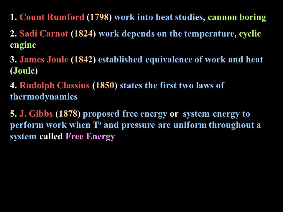 1. Count Rumford (1798) work into heat studies, cannon boring 5.