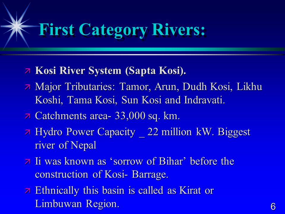 6 First Category Rivers:  Kosi River System (Sapta Kosi).