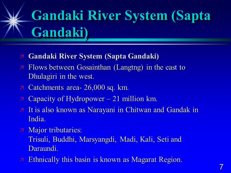 7 Gandaki River System (Sapta Gandaki)  Gandaki River System (Sapta Gandaki)  Flows between Gosainthan (Langtng) in the east to Dhulagiri in the west.
