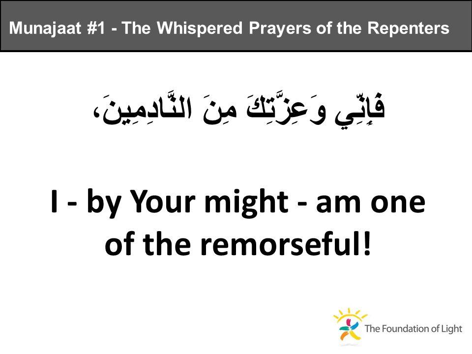 فَإِنِّي وَعِزَّتِكَ مِنَ النَّادِمِينَ، I - by Your might - am one of the remorseful.